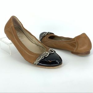 AGL Cap Toe Leather Ballet Flats Buckle Front Sz 7